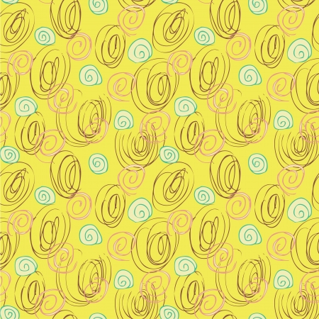 repeats: Scribble Seamless Pattern  repetitive  on yellow background  Illustration is in eps8 vector mode