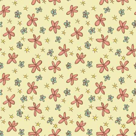 Different Flowers Seamless Pattern (repetitive) on yellow background. Illustration is in eps8 vector mode.  Vector