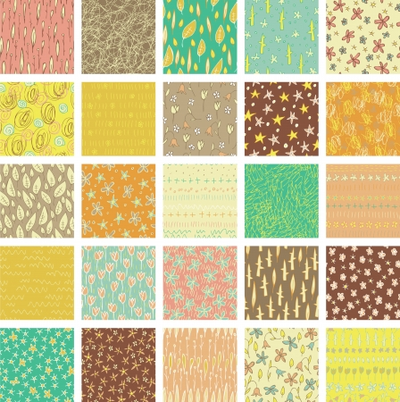 Set of 25 Different Seamless Patterns (repetitive) in colours.  Vector