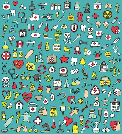 Big doodled medicine and health icons collection. Small hand-drawn illustrations are isolated (group) Vector