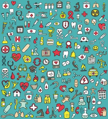 Grote doodled geneeskunde en gezondheid iconen collectie. Kleine handgetekende illustraties zijn geïsoleerd (groep)
