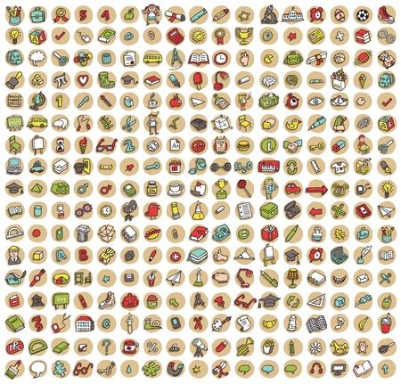 289 の学校および教育のコレクション落書き色の背景に影付きのアイコン (ビネット)。個々 のイラストが分離
