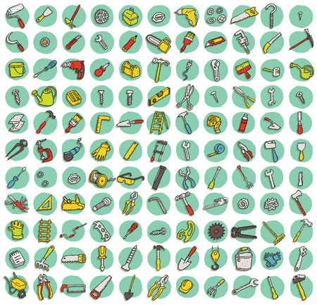 Collection of 121 tools doodled icons (vignette) with shadows, on background, in colours. Individual illustrations are isolated