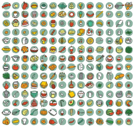 Collection of 196 food and kitchen doodled icons (vignette) with shadows, on background, in colours. Individual illustrations are isolated Vector