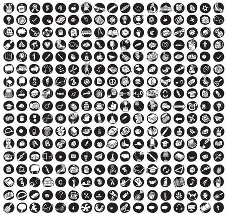 iconos educacion: Colecci�n de 289 escuelas y la educaci�n garabatos iconos (vi�eta) sobre fondo negro, en negro y blanco. Ilustraciones individuales est�n aislados Vectores