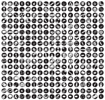 science icons: Collection of 289 school and education doodled icons (vignette) on black background, in black-and-white. Individual illustrations are isolated  Illustration
