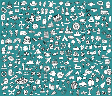 doodled: Big doodled summer and holidays icons collection  Small hand-drawn illustrations  vignette  are isolated  group Illustration