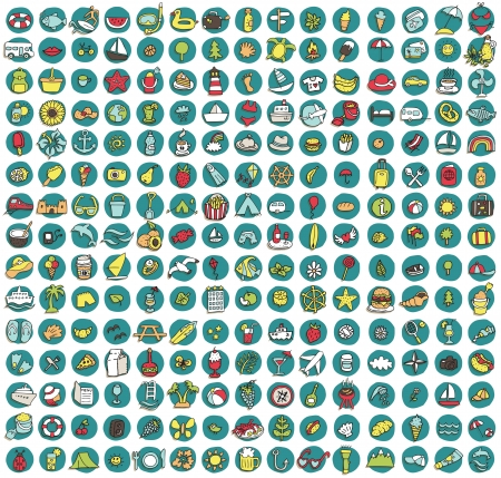 doodled: Collection of 225 summer and holiday doodled icons  vignette  with shadows, on background, in colours  Individual illustrations are isolated