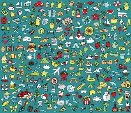 doodled: Big doodled summer and holidays icons collection  Small hand-drawn illustrations  vignette  are isolated  group