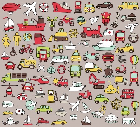 Big doodled transportation icons collection in colors  Small hand-drawn illustrations are isolated  group  Vector