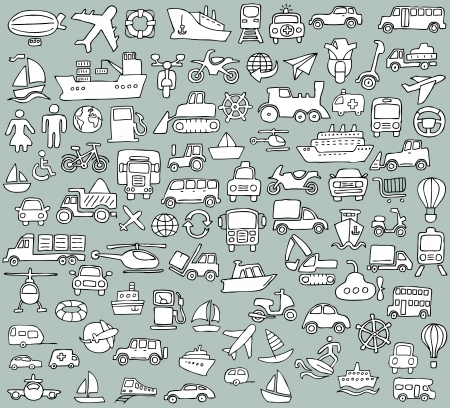 doodled: Big doodled transportation icons collection in black-and-white  Small hand-drawn illustrations are isolated  group  Illustration