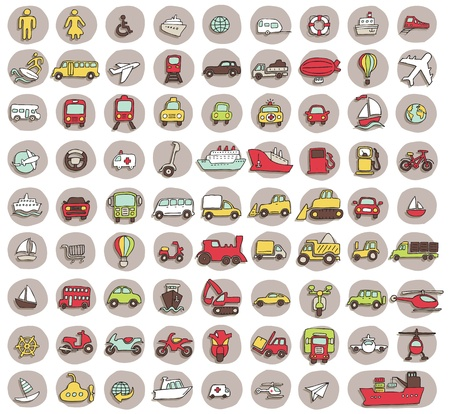 Collection of 80 transportation doodled icons  vignette  with shadows, on background, in colours  Individual illustrations are isolated  Vector