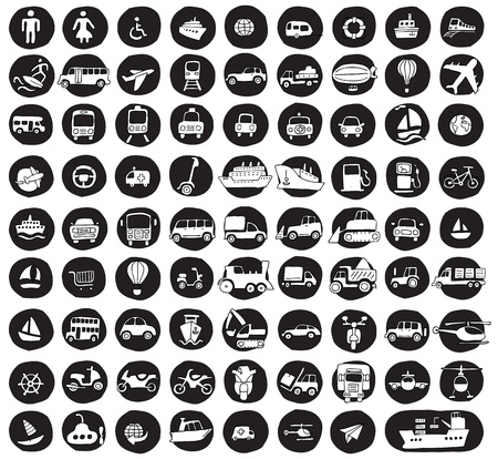 Collection of 80 transportation doodled icons  vignette  on black background, in black-and-white  Individual illustrations are isolated  Vector
