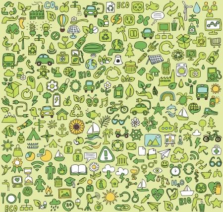 Grote doodled ecologie iconen collectie. Kleine handgetekende illustraties zijn geïsoleerd
