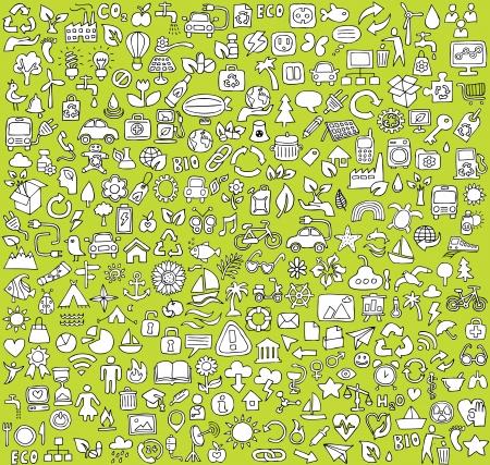 Grote doodled ecologie iconen collectie in zwart-wit. Kleine handgetekende illustraties zijn geïsoleerd Stock Illustratie