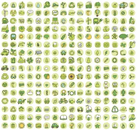 Collectie van 256 ecologie doodled iconen (vignet) met schaduwen, op de achtergrond, in kleuren. Individuele illustraties zijn geïsoleerd