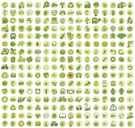 Collection of 256 ecology doodled icons (vignette) with shadows, on background, in colours. Individual illustrations are isolated Illustration