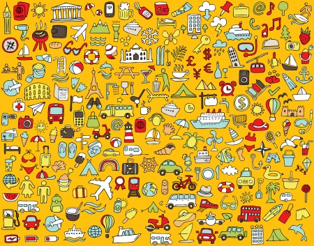 Big doodled travel and tourism icons collection in colours. Small hand-drawn illustrations are isolated  Vector