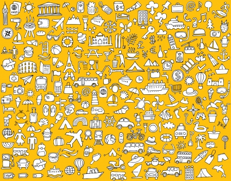 Big doodled travel and tourism icons collection in black-and-white. Small hand-drawn illustrations are isolated