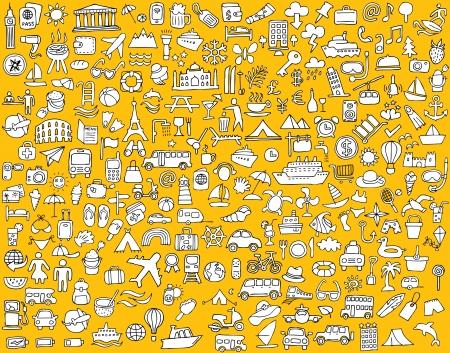 Grote doodled reizen en toerisme iconen collectie in zwart-wit. Kleine handgetekende illustraties zijn geïsoleerd
