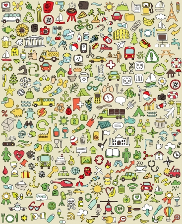 big business: Iconos Doodle XXL Set No.1 para cada ocasi�n en colores. Peque�as ilustraciones dibujadas a mano son aislados (grupo) en el fondo