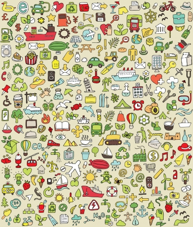 eco tourism: XXL Doodle Icons Set No.2 for every occasion in colors. Small hand-drawn illustrations are isolated (group) on background  Illustration