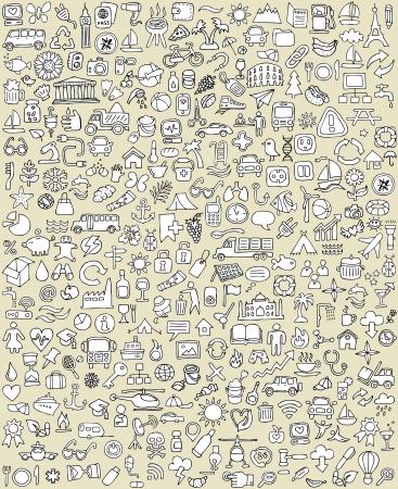 conjunto: Iconos Doodle XXL Set No.1 para cada ocasión en negro y blanco. Pequeñas ilustraciones dibujadas a mano son aislados (grupo) en el fondo