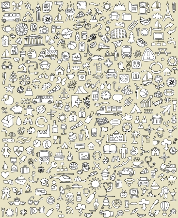 XXL Doodle Icons Set No.1 for every occasion in black-and-white. Small hand-drawn illustrations are isolated (group) on background  Vector