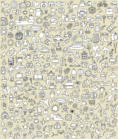 eco tourism: XXL Doodle Icons Set No.2 for every occasion in black-and-white. Small hand-drawn illustrations are isolated (group) on background