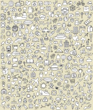 XXL Pictogrammen Doodle Set No.2 voor elke gelegenheid in zwart-wit. Kleine handgetekende illustraties zijn geïsoleerd (groep) op de achtergrond