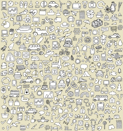 XXL Doodle Icons Set No.3 for every occasion in black-and-white. Small hand-drawn illustrations are isolated (group) on background Illustration