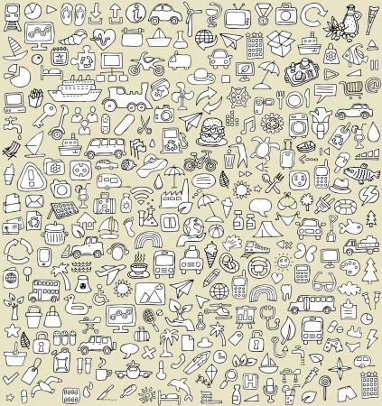 XXL Pictogrammen Doodle Set No.3 voor elke gelegenheid in zwart-wit. Kleine handgetekende illustraties zijn geïsoleerd (groep) op de achtergrond Stock Illustratie