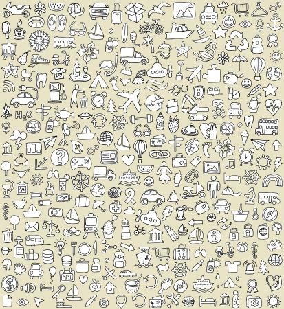 XXL 落書きアイコン セット, No.4 白黒のあらゆる機会のため。小さな手描きイラストは背景に分離 (グループ)