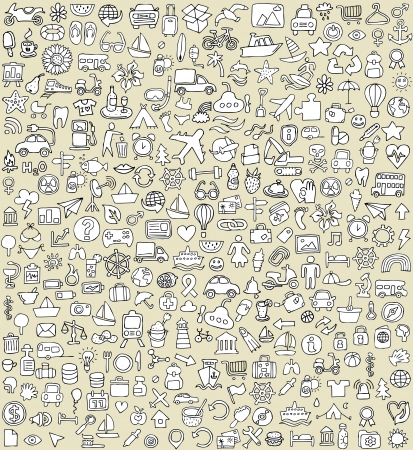 XXL Doodle Icons Set No.4 for every occasion in black-and-white. Small hand-drawn illustrations are isolated (group) on background  Vector