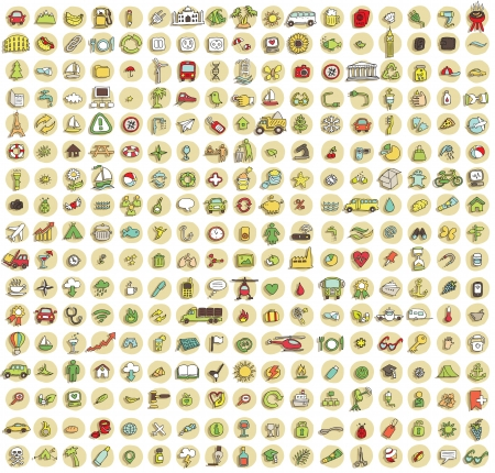 no1: XXL Collection of 289 doodled icons for every occasion No.1 with shadows, on background, in colours. Individual illustrations are isolated