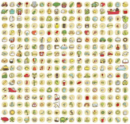 XXL collectie van 289 doodled pictogrammen voor elke gelegenheid No.2 met schaduwen, op de achtergrond, in kleuren. Individuele illustraties zijn geïsoleerd Stock Illustratie