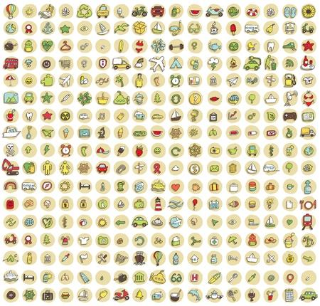 XXL collectie van 289 doodled pictogrammen voor elke gelegenheid No.3 met schaduwen, op de achtergrond, in kleuren. Individuele illustraties zijn geïsoleerd