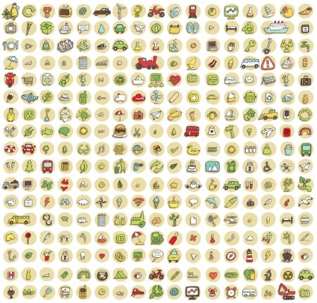 XXL Sammlung von 289 kritzelte Icons f�r jeden Anlass No.4 mit Schatten, im Hintergrund, in den Farben. Einzelne Abbildungen sind isoliert Illustration