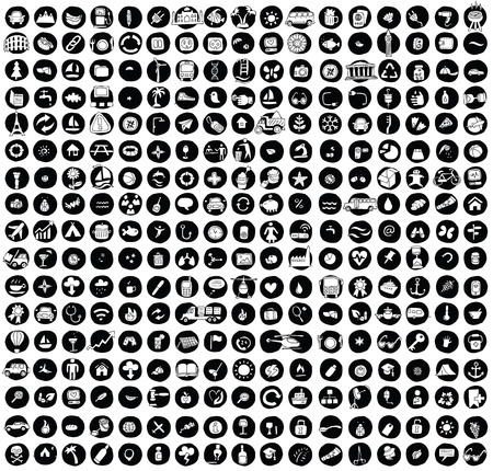 XXL Collection of 289 doodled icons for every occasion No.1 on black background, in black-and-white. Individual illustrations are isolated Stock Vector - 20979295
