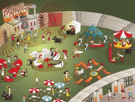lots: Summer Party Cartoon with lots of young people having fun in old stadium. Elements in illustration are isolated, with gradients Illustration