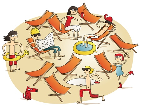 Young people having fun on a beach vignette illustration. Illustration is hand drawn, elements are isolated Vector