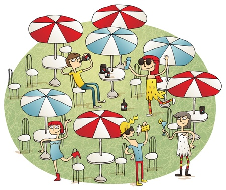 Young people having fun in beach bar vignette illustration. Illustration is hand drawn, elements are isolated Vector
