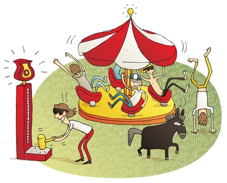 people having fun: Young people having fun in fun fair vignette illustration. Illustration is hand drawn, elements are isolated