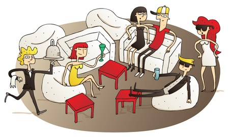 Young people having fun in V.I.P. lounge vignette illustration. Illustration is hand drawn, elements are isolated Vector