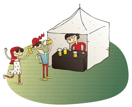 Young people having fun drinking beer vignette illustration. Illustration is hand drawn, elements are isolated.  Vector