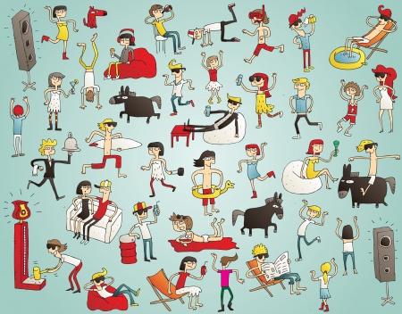 Collectie jonge mensen die plezier (geïsoleerd), dansen, drinken enz. Illustratie wordt getrokken hand, zijn elementen geïsoleerd