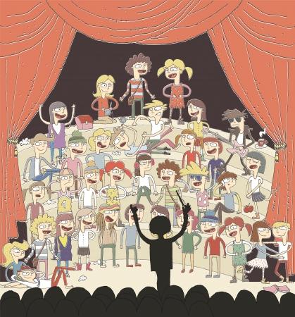Grappig schoolkoor zingt hand getekende illustratie met groep tieners. elementen zijn geïsoleerd in een groep.