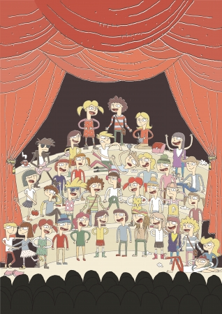 theater audience: Funny school choir singing poster hand drawn illustration with group of teenagers. elements are isolated in a group. Illustration