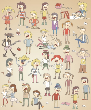 crazy: Set of funny singing teenagers. elements are isolated in a group. Illustration