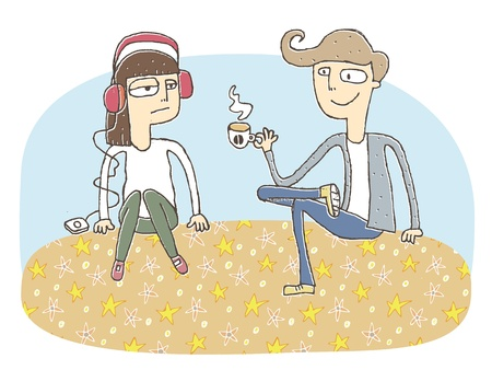 Small vignette illustration of a flirting couple. Illustration is in eps10 vector mode, elements are isolated in a group. Vector